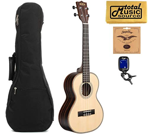 Kala KA-SSEBY-T Spruce Top, Striped Ebony Body Tenor Ukulele w/Gigbag Bundle