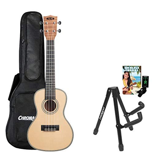 Kala KA-SSEM-C Solid Spruce Top Exotic Mahogany Concert Ukulele with Stand, Clip-On Tuner, Gig Bag & Lesson-Chord Guide
