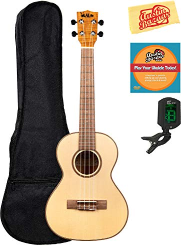Kala KA-FMTG Solid Spruce Flame Maple Tenor Ukulele Bundle with Gig Bag, Tuner, Austin Bazaar Instructional DVD, and Polishing Cloth