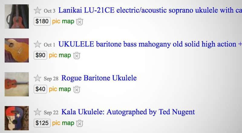 Ukuleles for sale on Craigslist