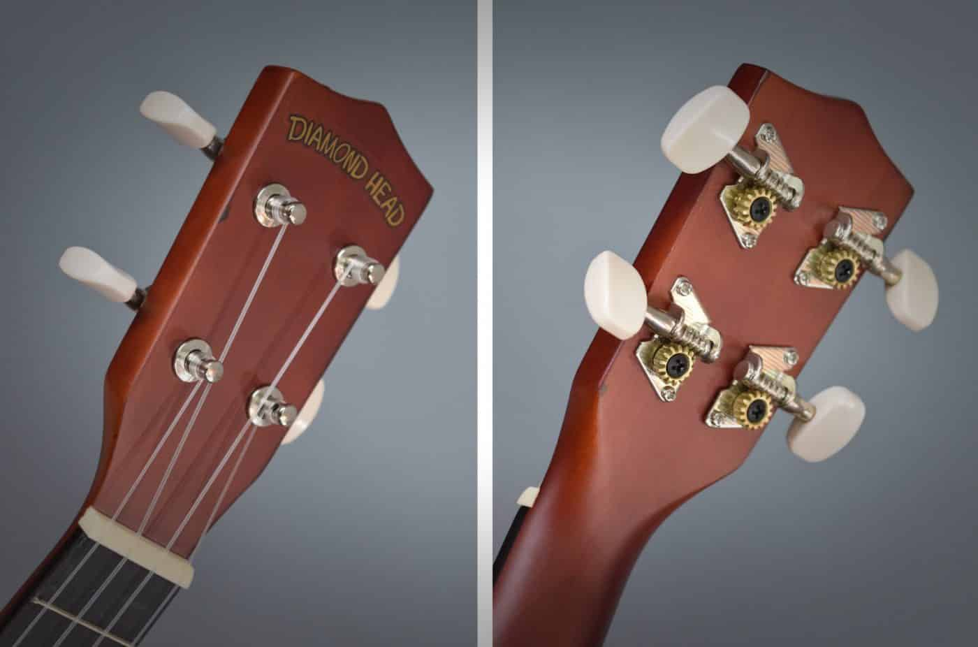 Donner DU-150 Ukulele - Headstock and Tuners Front and Back