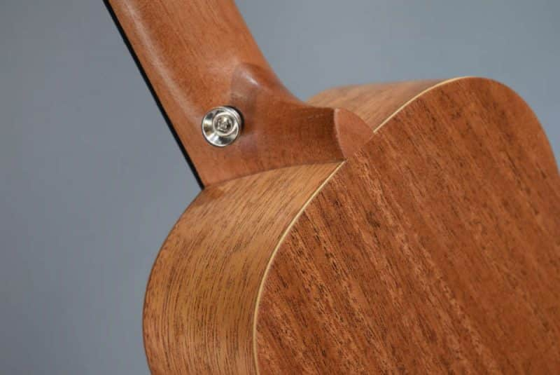Donner ukulele back and heel close-up