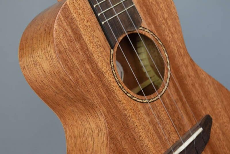 Donner ukulele front and rosette close-up