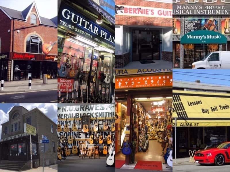 Collage of guitar stores