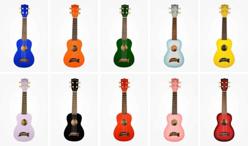 Makala Dolphin Ukulele All Colors Collage