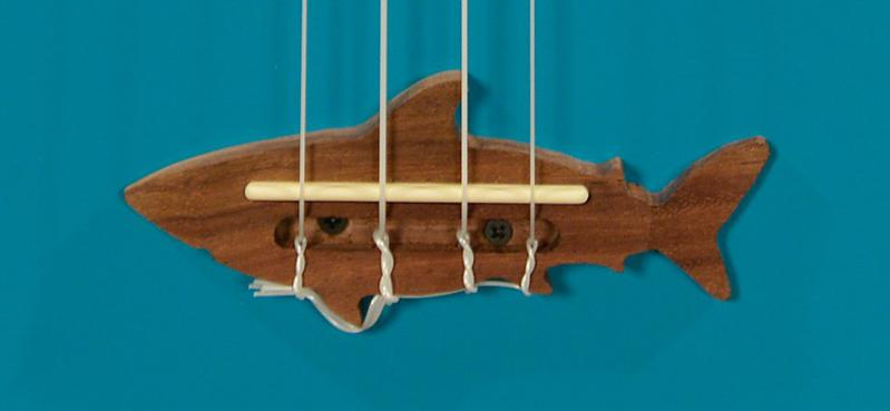 Makala Shark Ukulele Bridge Close Up