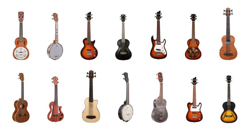 Collage of different types of ukuleles