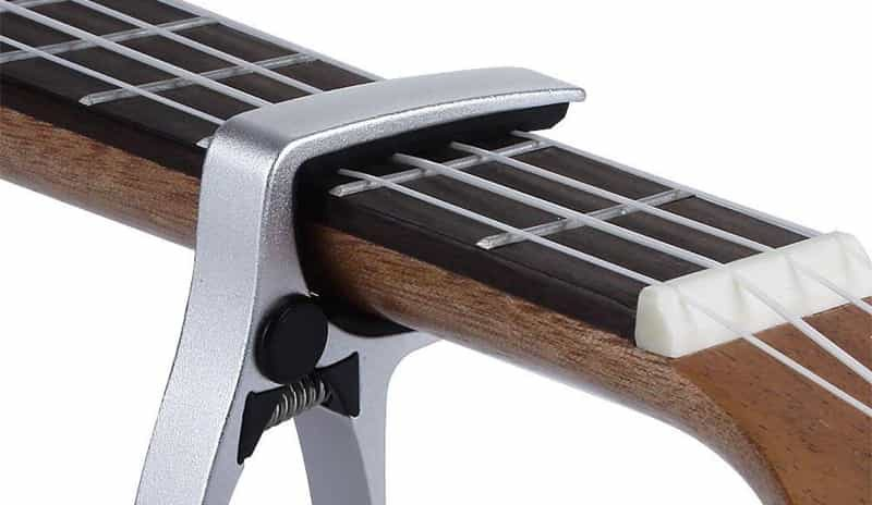 Ukulele capo on neck